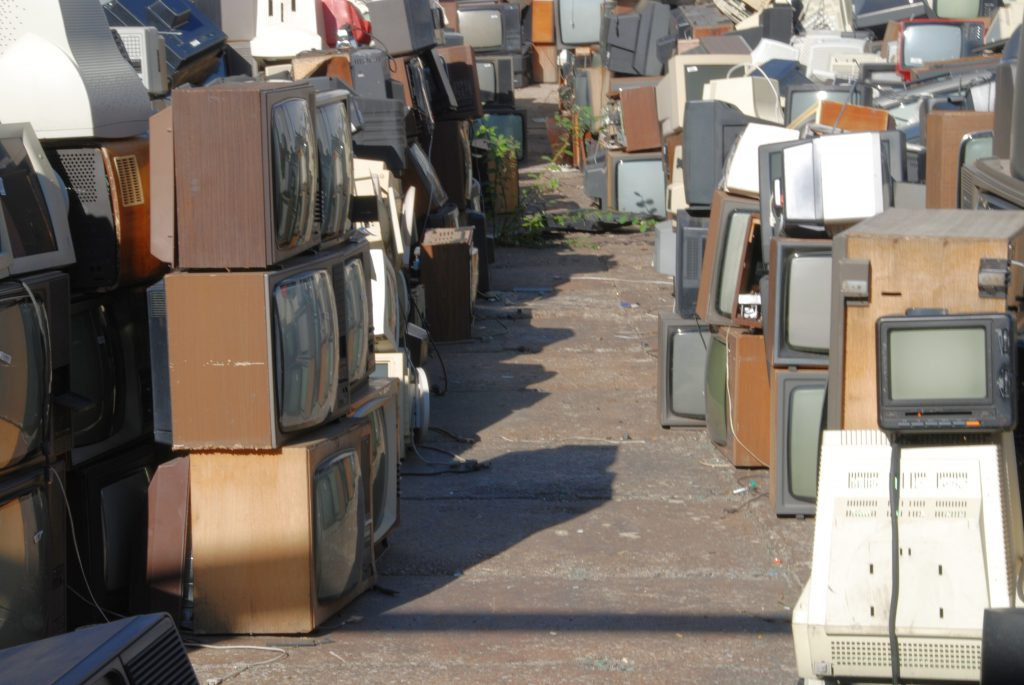 Electronic waste containing CRT glass is rarely recycled; rather, it is disposed of in landfills.