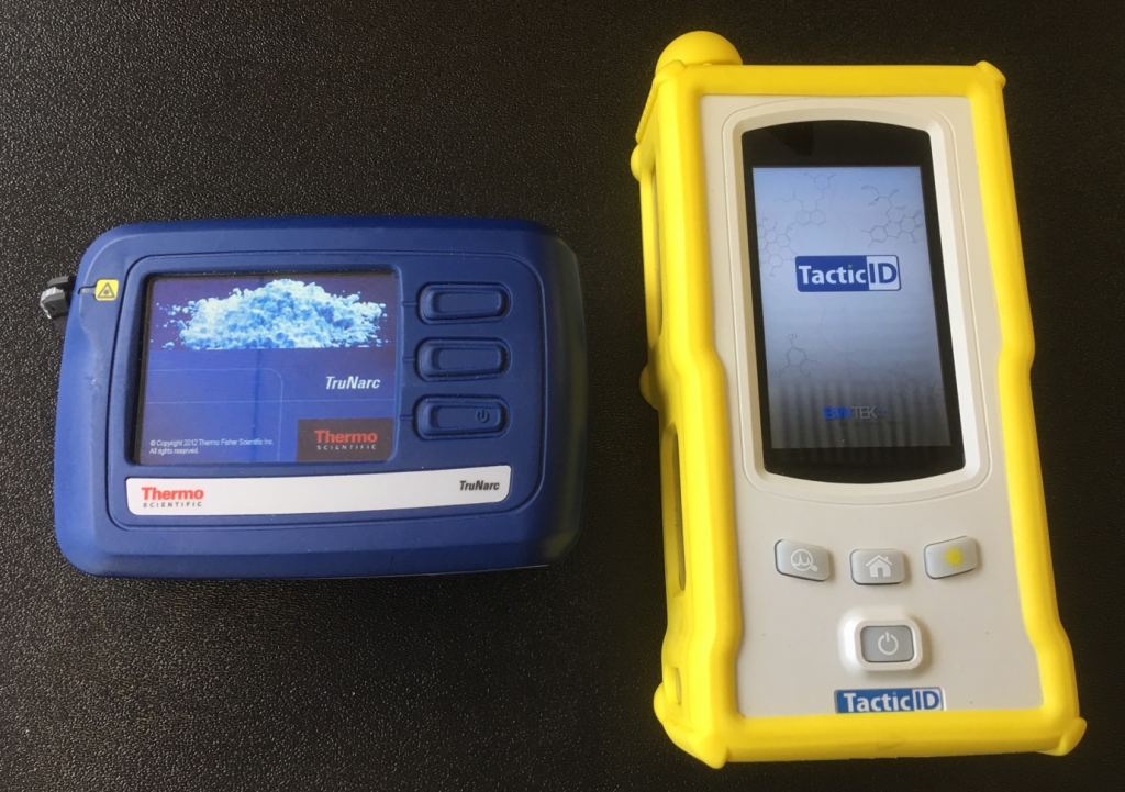 two examples of Raman spectroscopy field test equipment