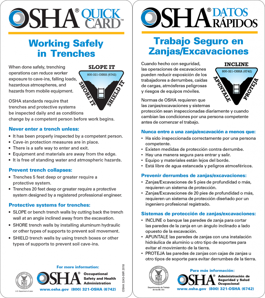 OSHA Trenching Safety QuickCard - English & Spanish