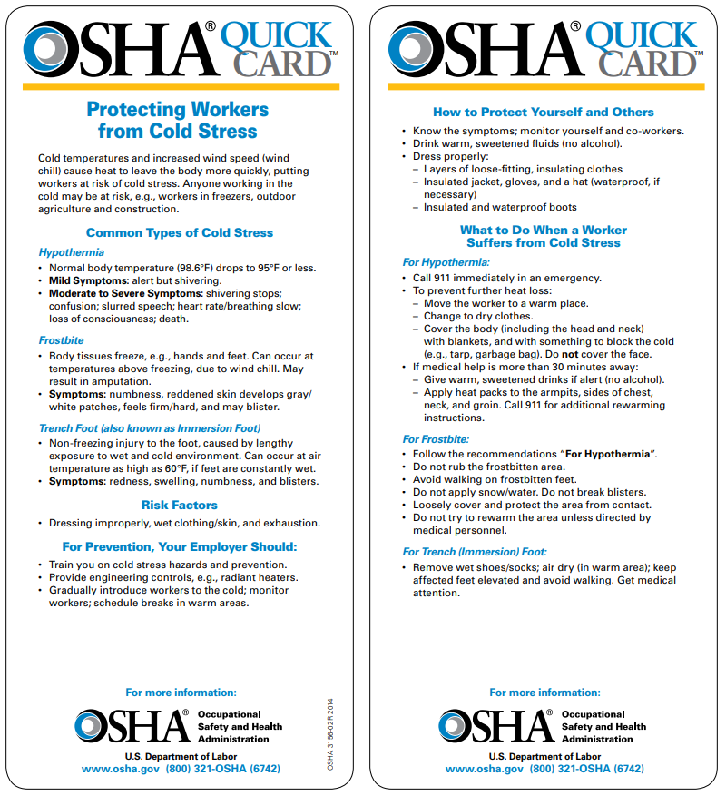 OSHA QuickCards Cold Stress