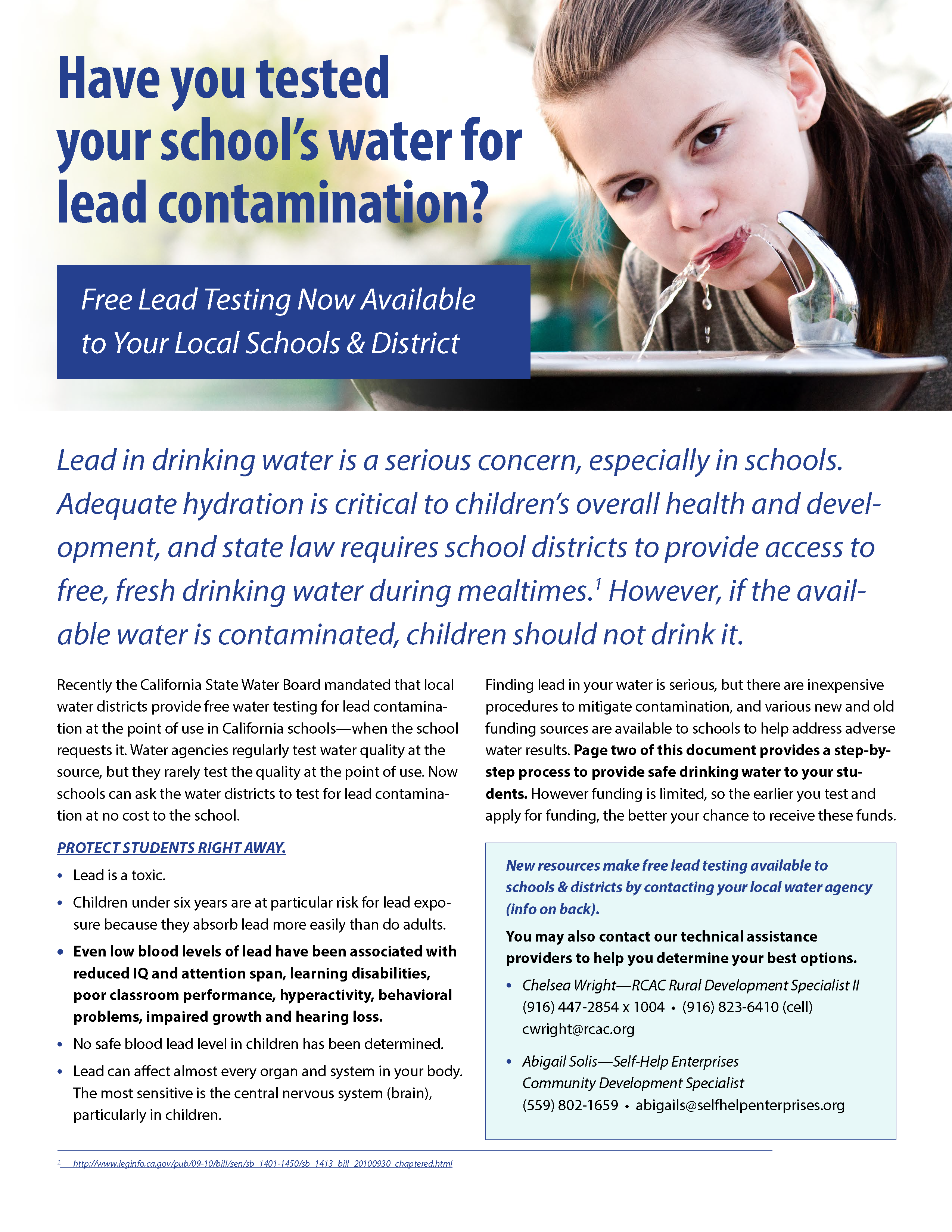 RCAC Brochure - Lead Testing in Schools - Page 1 - NES